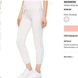 NWT Monrow Athletic Stripe Sweatpants Light Medium